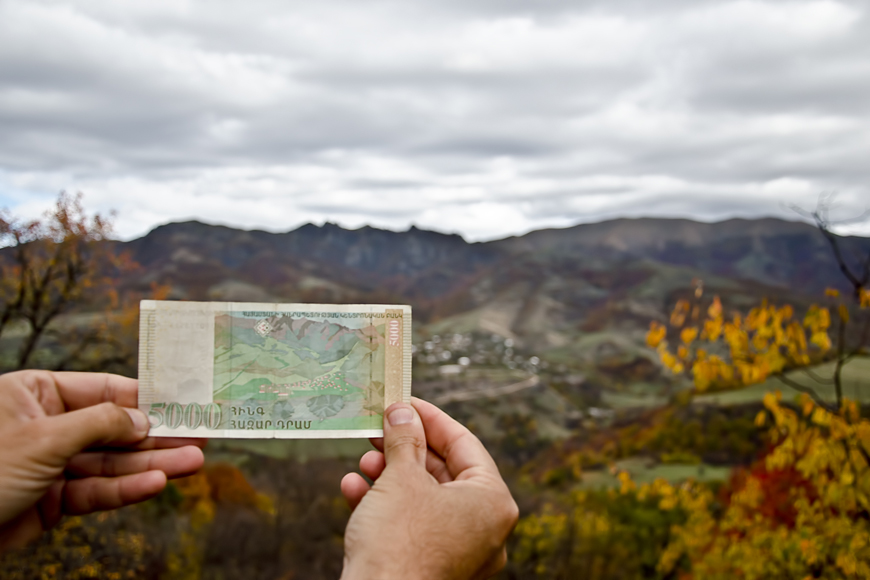 Armenian currency and landscape