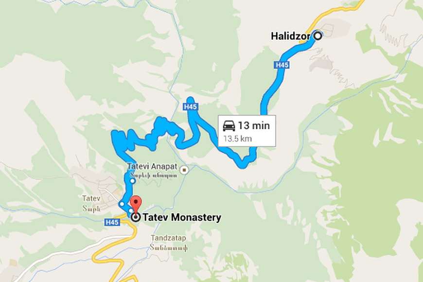Map from Yerevan to Tatev Monastery